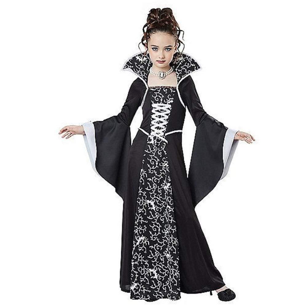 110 Nero ZLHZYP Carnevale Bambina Costume di Halloween per Bambini Costume da Vampiro per Bambina Costume da Abito Medievale Nero Rosso Costume da Bambino per Bambini