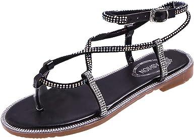 Women Flat Sandals Summer,SIN+MON Womens Bohemian Crystal Rhinestone Sequins Elastic Band Flip Flops Sandals Slip-On Sandal