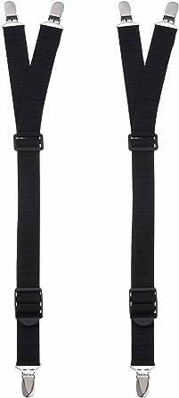 Tirantes de Camisa en Estilo de Y, Tirante de Liga Elástico Negro de Calcetines Durable con Abrazaderas de Bloqueo Reforzadas para Hombres, 1 Pares: Amazon.es: Ropa y accesorios