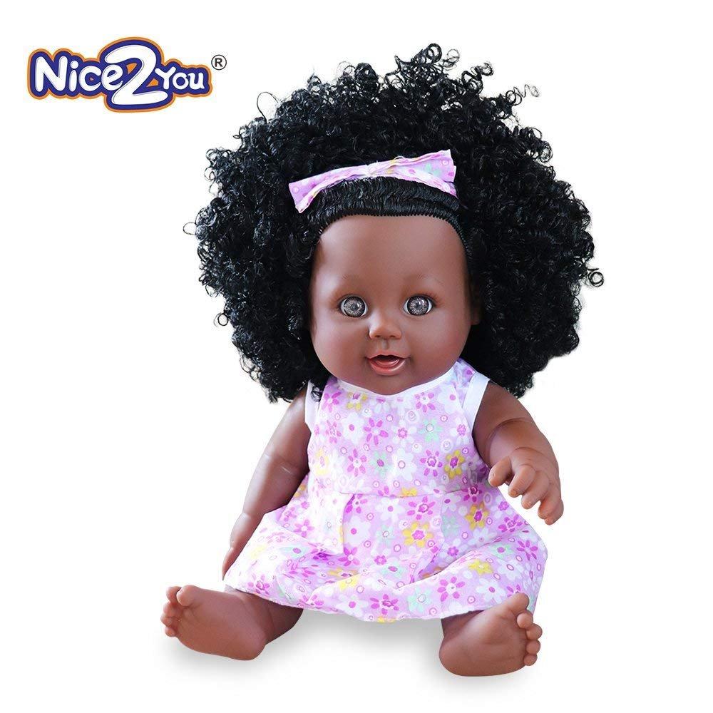 Nice2you Schwarz Puppe African American lebensechte 12 Zoll Baby Puppen für Kinder Kinder Spielzeug
