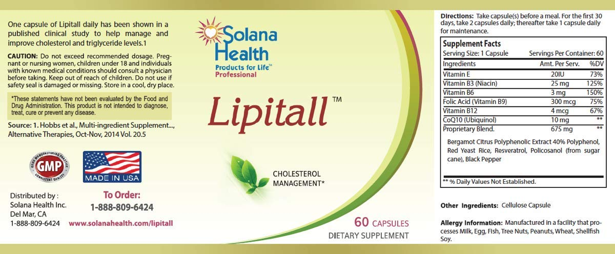 Manage Cholesterol Naturally! (Tot, LDL,HDL,TRI) Study Shows 24% Decrease in 60 days, Save $35 Use Code:TRIALS35 at Check Out,10 Proven Ingredients One Tablet per Day! by Solana Health Inc