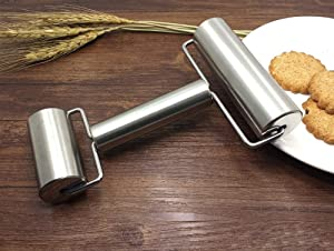 Smooth Stainless Steel Rolling Pin Pastry and Pizza Double Dough Baker Roller Metal Kitchen Utensils Ideal for Baking Dough, Pizza, Pie, Pastries, Pasta and Cookies