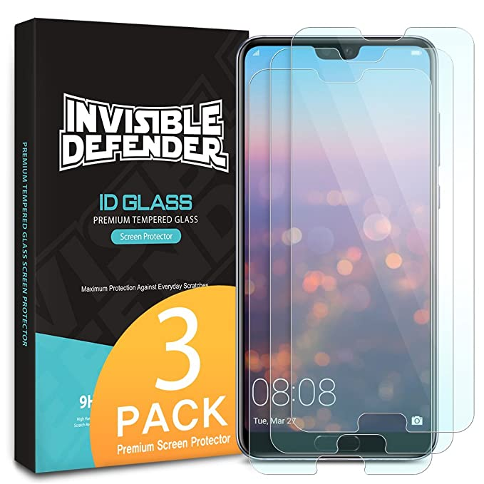 c8c950e6f5170c Ringke Invisible Defender Glass [3 Pack] Compatible with Huawei P20 Pro, Tempered  Glass