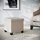 Nathan James 71103 Foldable Storage Foot Rest and Seat, Cube Ottoman, Beige