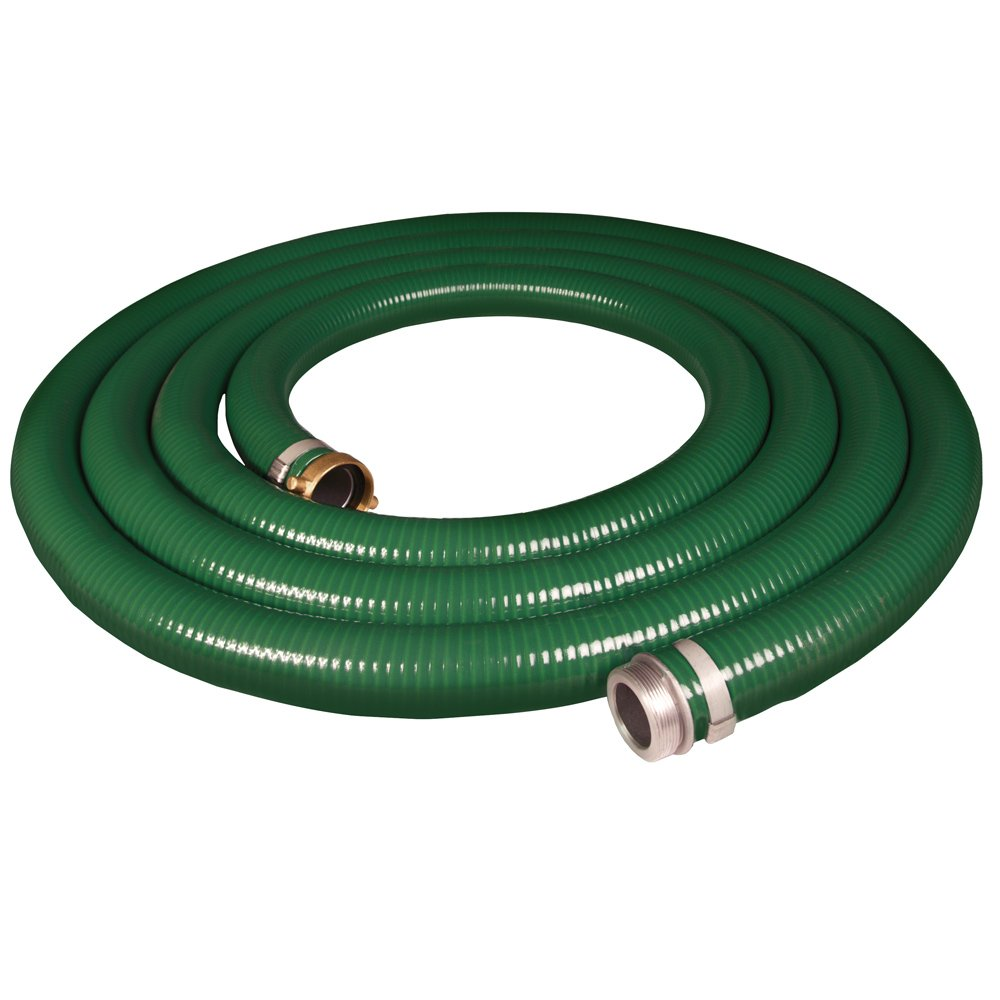 Apache 98128045 2\' x 25\' PVC Style G (Green) Suction Hose with Aluminum Pin Lug Fittings