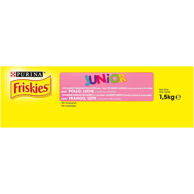 Friskies - Gato Junior con Pollo, Leche y Verduras añadidas, 1,5 Kg