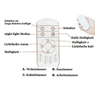 Schlafzimmer Lichtfarbe EtimeR 96W LED Deckenleuchte Dimmbar Deckenlampe Modern Wohnzimmer