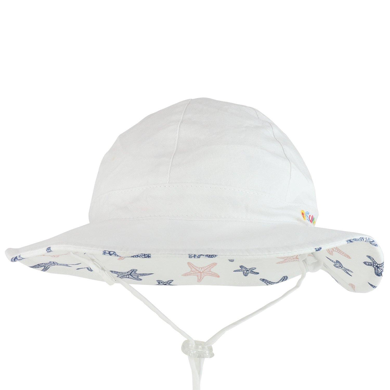 Trendy Apparel Shop Infant Baby Girls Reversible Starfish UPF Sun Floppy Cotton Hat