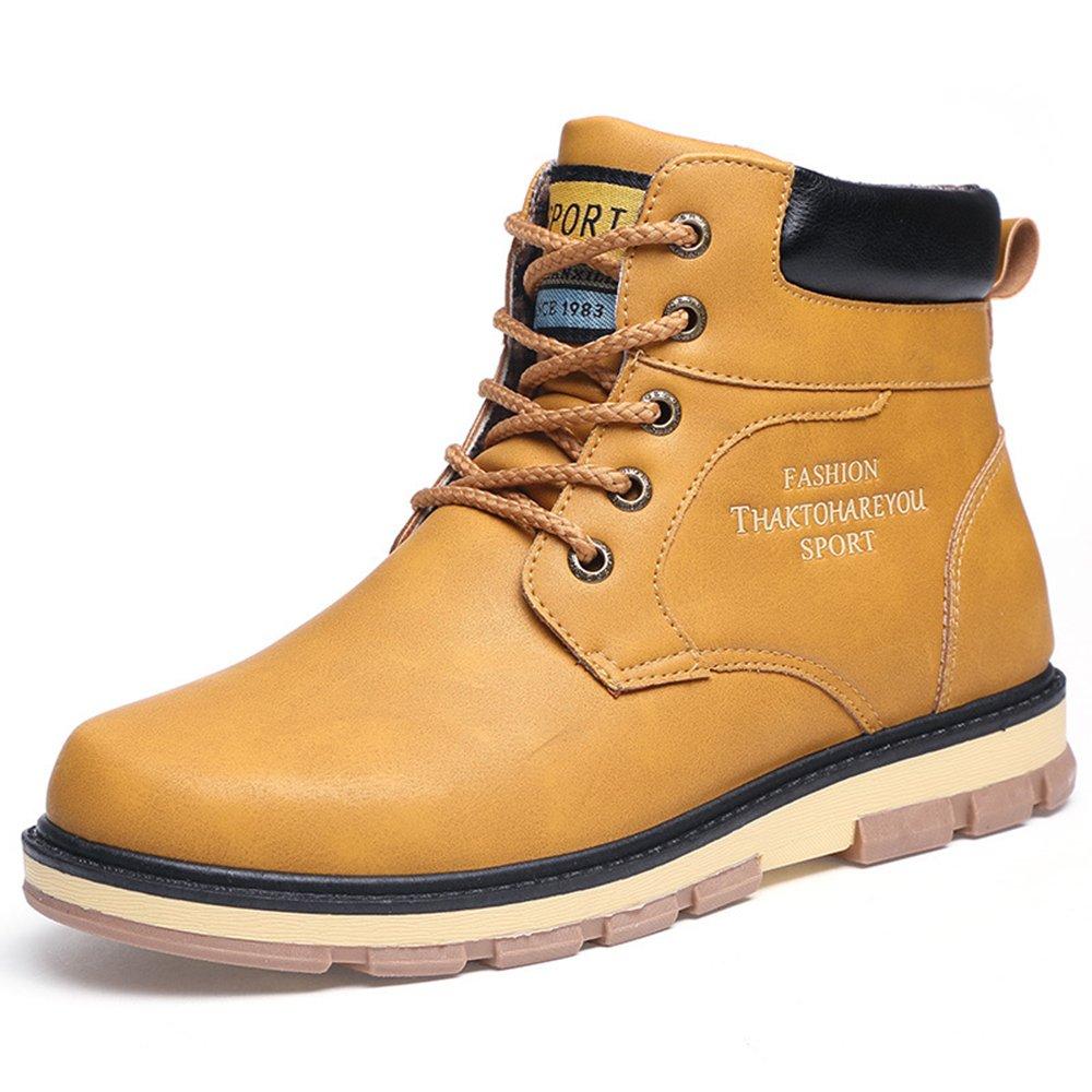 AARDIMI Mode Winter Männer Schuhe Mitte Wade Männer Arbeits Stiefel Casual Warme Winter Schnee Stiefel Große Größe Männliche Lederstiefel Gelb