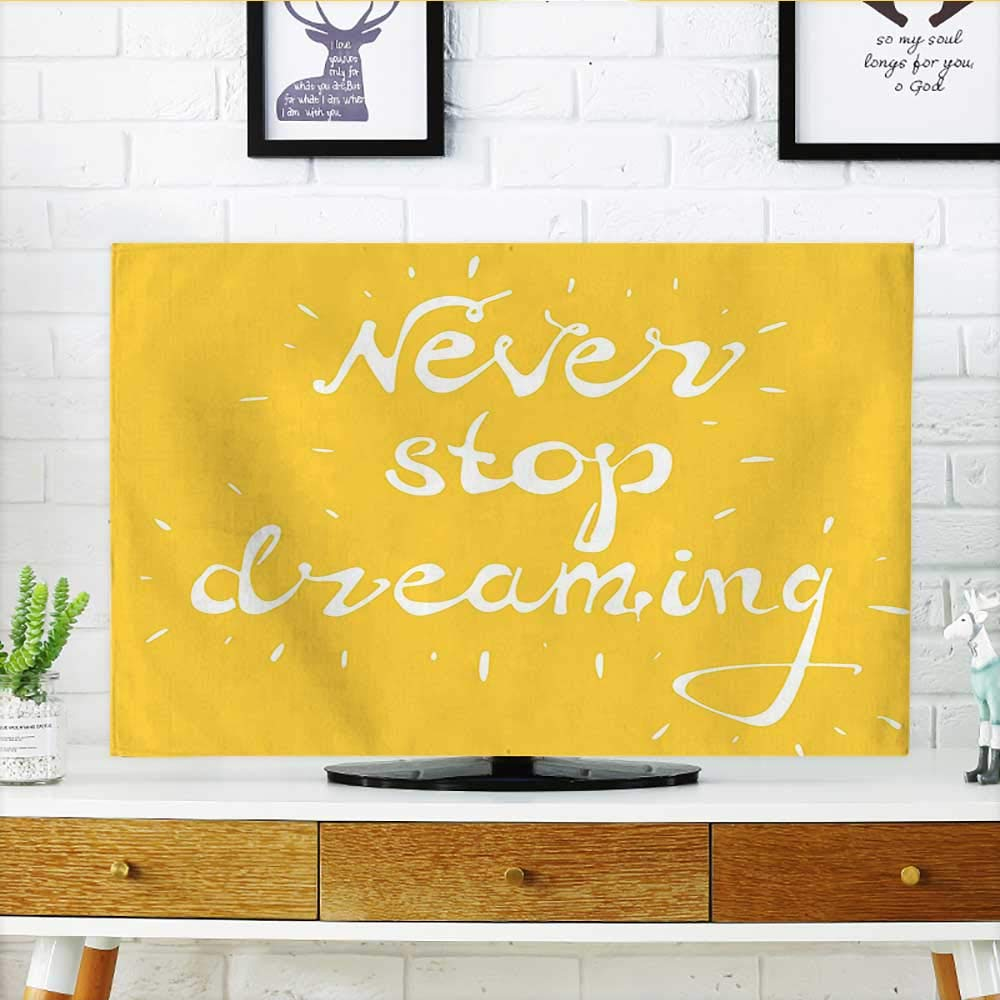 """Cord Cover for Wall Mounted tv Collection Highlighted Wise Never Stop Dreaming Quote Setting Life Goals Wisdom and Hope Cover Mounted tv W32 x H51 INCH/TV 55"""""""