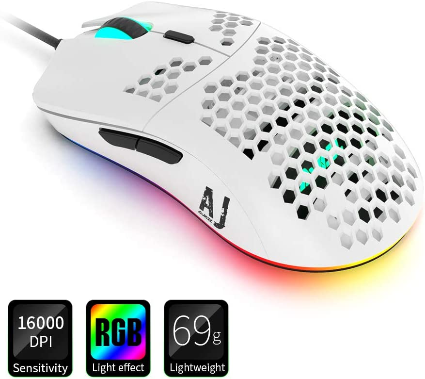 NACODEX AJ390 69G USB Wired Gaming Mouse with Lightweight Honeycomb Shell - RGB Chroma LED Light - Programmable 7 Buttons - Pixart 3338 16000 DPI Optical Sensor (White)