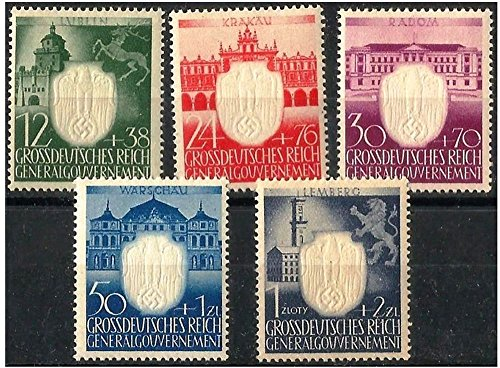 NAZI OCCUPIED POLAND 1944: LG STAMPS from 5 NAZI DISTRICTS w GHOSTLY 3-D EMBOSSED SWASITKAS Read History