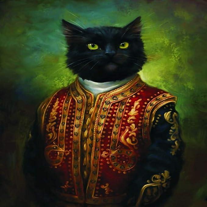 Geiqianjiumai Vintage Lienzo Pintura Obispo Retrato Gato Pared ...