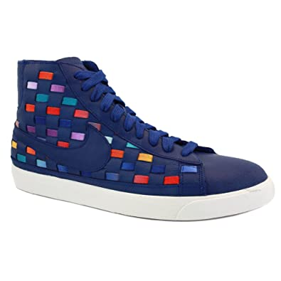 Nike Blazer Mid Woven 555279 400 Womens Laced Leather & Woven Trainers Blue  Multicolour - 6