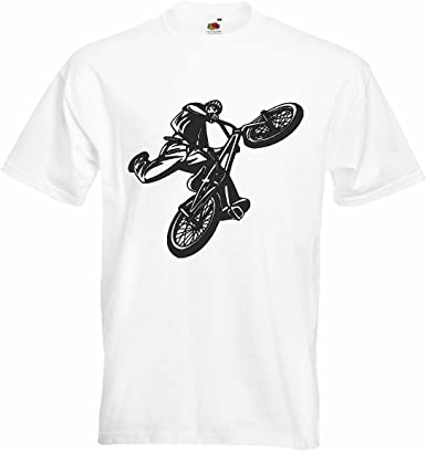 T-Shirt Camiseta Remera Ciclismo DE Bicicleta BMX Freestyle Motocross Chopper Bicicleta Freestyle en Blanco: Amazon.es: Ropa y accesorios