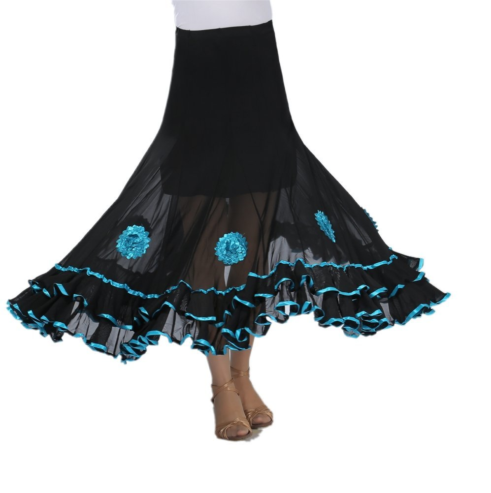 CISMRAK Elegant Ballroom Dancing Latin Dance Salsa Tango Swing Skirt For Women 001turquoise, One Size by CISMARK