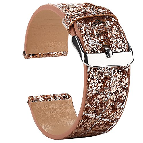 Gear S3 Bands for Women, 22mm Watch Band Quick Release, Moonooda Replacement Strap Glitter Sparkling Compatible with Samsung Galaxy Watch 46mm / S3 Frontier/Classic Watch, Rose Gold & Silver