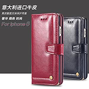 6 Genuine Real Leather Crazy Horse Flip Full Case For Iphone 6 4.7 inch Cover With Rivet Fashionable Stand Retro Vintage Bag i6 --- Color:Red