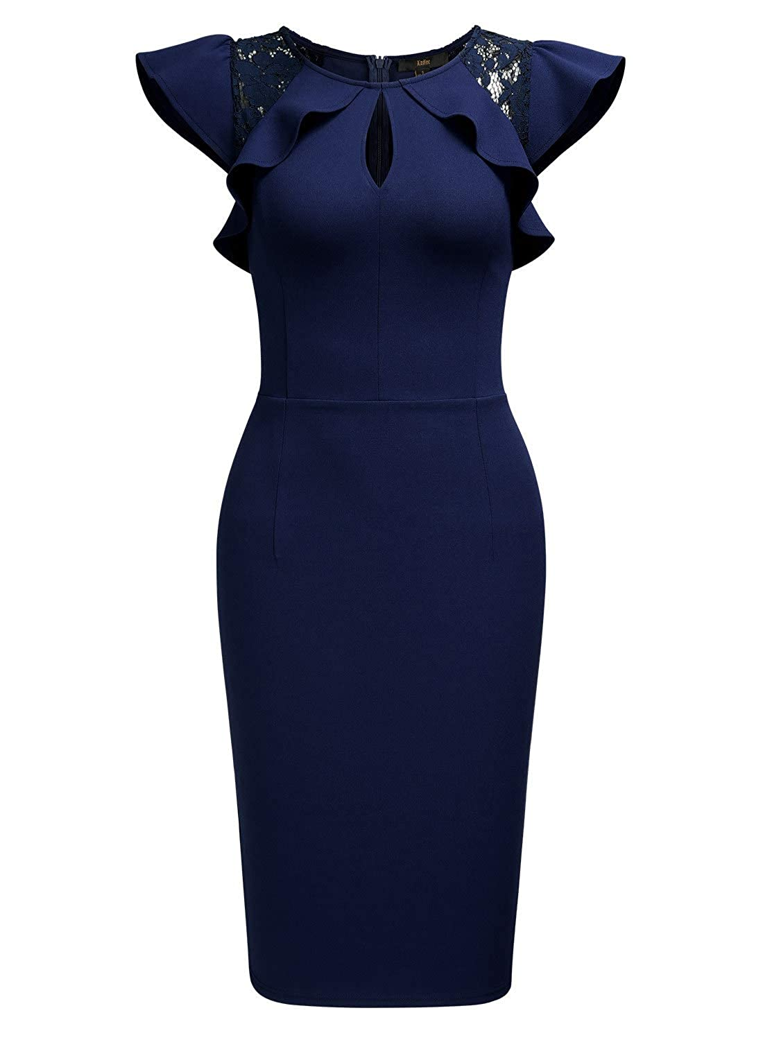 c23359cfb59 Knitee Women s Business Casual Office Evening Nightout Cocktail Party  Bodycon Cut Out Sheath Dress at Amazon Women s Clothing store