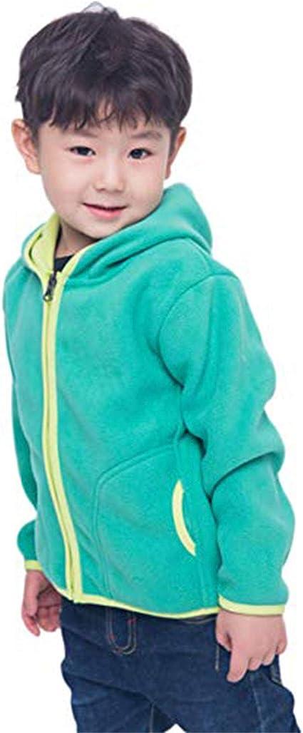 LANBAOSI Kids Girls Boys Hooded Full Zip Polar Fleece Jacket Warm Thermal Outdoor Hoodie