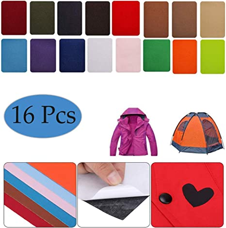 Assorted Colors 8 Pieces Nylon Repair Patches Self-Adhesive Nylon Patch Waterproof Repair Patches for Clothing Down Jacket Tent Clothes Bag