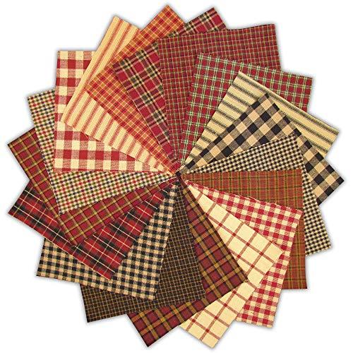 40 Farmhouse Red Charm Pack, 5 inch Precut Cotton Homespun Fabric Squares by JCS