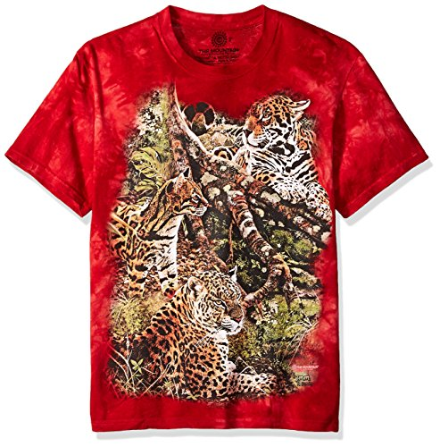 The Mountain Three Jungle Cats Adult T-Shirt, Red, - T-shirt Mountain