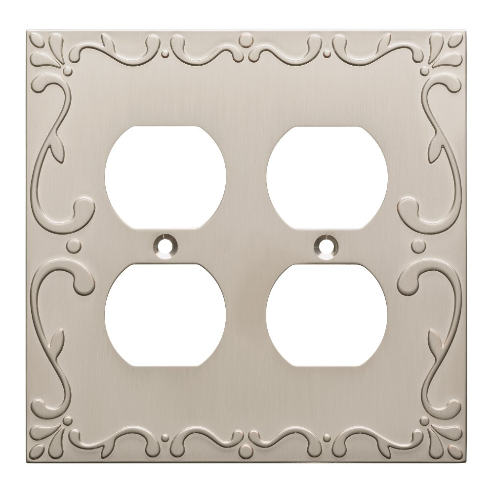 Franklin Brass W35076-SN-C Classic Lace Double Duplex Wall Plate/Switch Plate/Cover, Satin Nickel