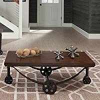Coaster Coffee Table in Chestnut and Rustic Bronze