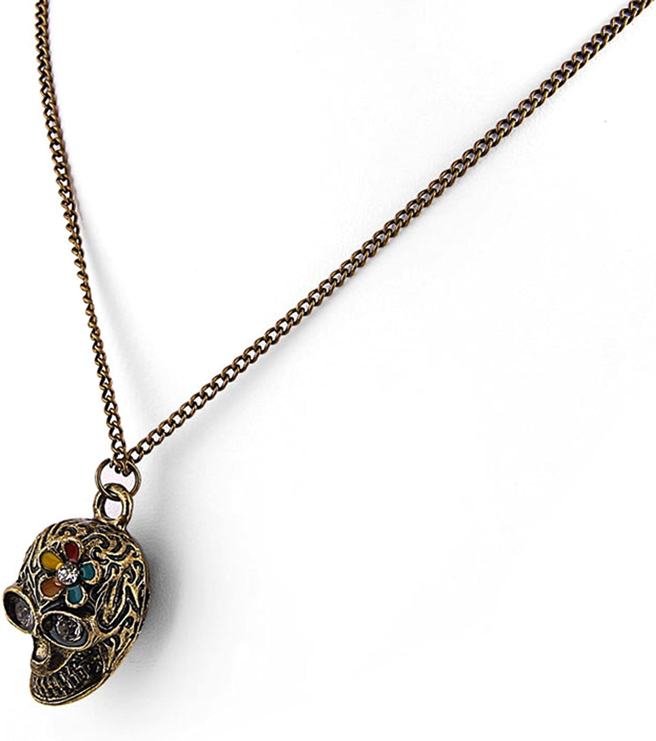 JewelryVolt FN-5421 Gothic Antique Gold Tone Skeleton Skull with Daisy Flower Pendant Necklace with Long 30 Chain