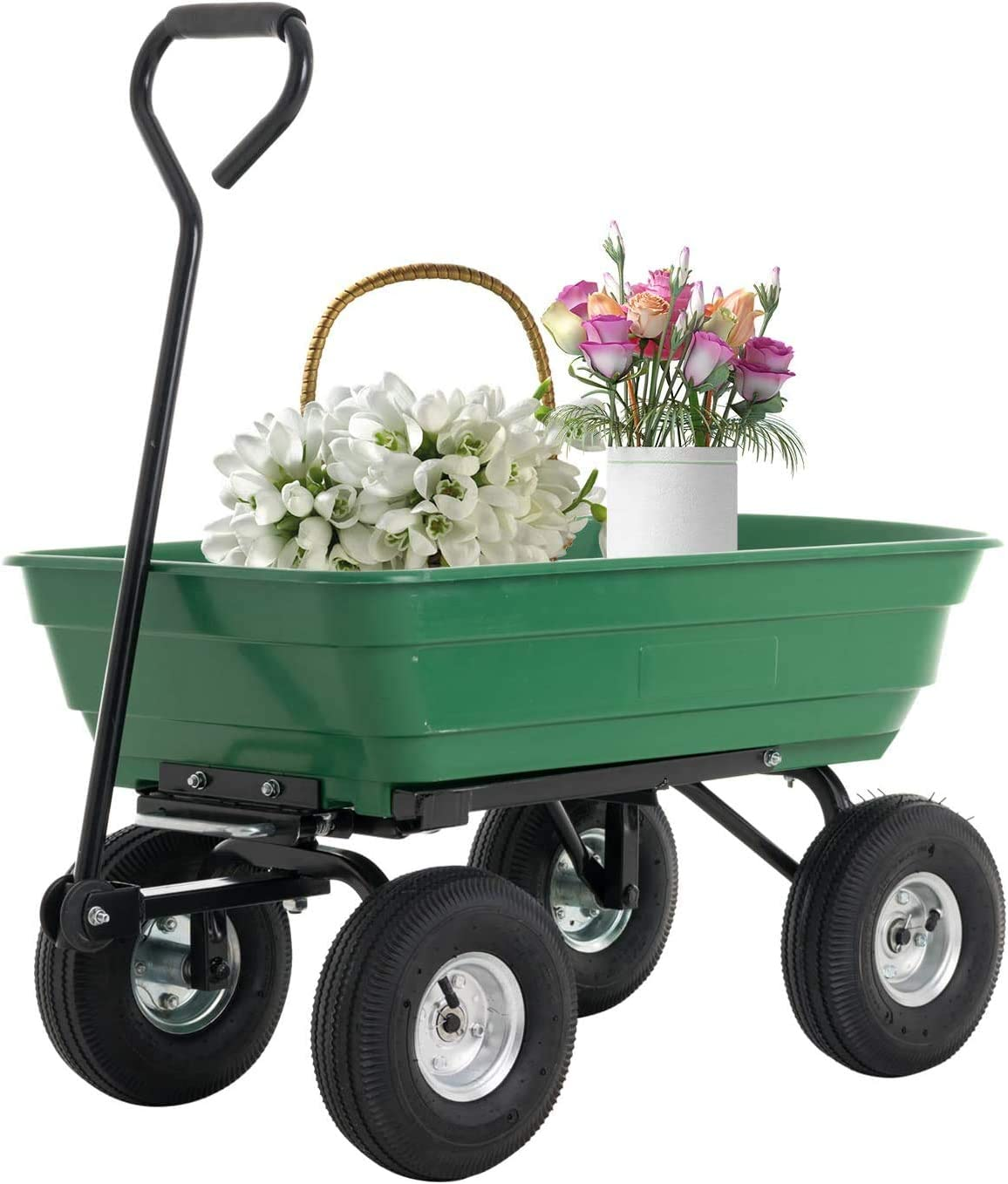 SUNCOO Dump Garden Cart with Heavy Duty Poly Garden Utility Yard Wagon with 4 Wheels, 600lbs Multifunctional Pulling Wagon, Green