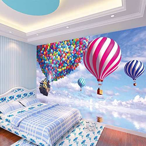 3D Color Hot Air Balloon Sky 4 Wall Paper Wall Print Decal Wall Deco Indoor wall Murals Removable Wall Mural | Self-adhesive Large Wallpaper , AJ WALLPAPER Carly (123''87''(WxH)) by AJ WALLPAPER