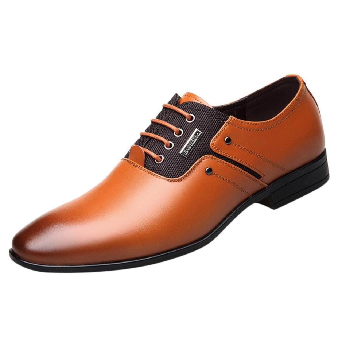 Men's Lace up Oxford Dress Shoes Pointed Toe Business Fashion Leather Comfortable Classic Shoes by Lowprofile Yellow