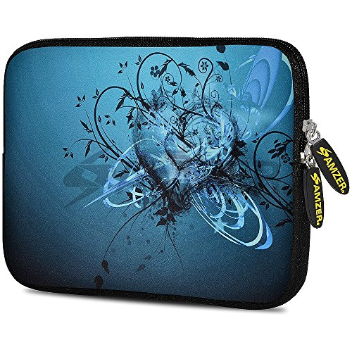amzer-775-inch-designer-neoprene-sleeve-case-cover-pouch-for-tablet-ebook-and-netbook-teal-heart-amz