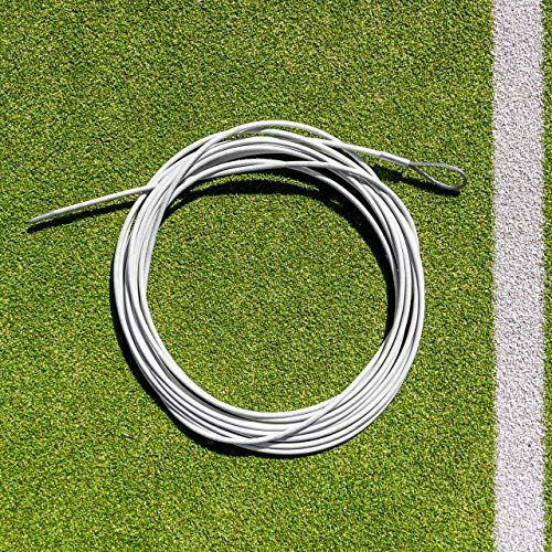 (Net World Sports Tennis Net Headline Wire Cable - Singles or Doubles Net Posts Size - Loop & Pin or Double Loop Ends Style - Steel Cable - 100% Weatherproof (Loop & Pin, 42ft Doubles Net) )