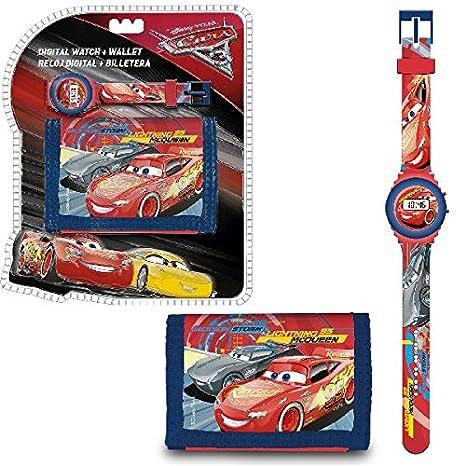 Cars 3- Set con con reloj de pulsera digital y billetera, unica ...