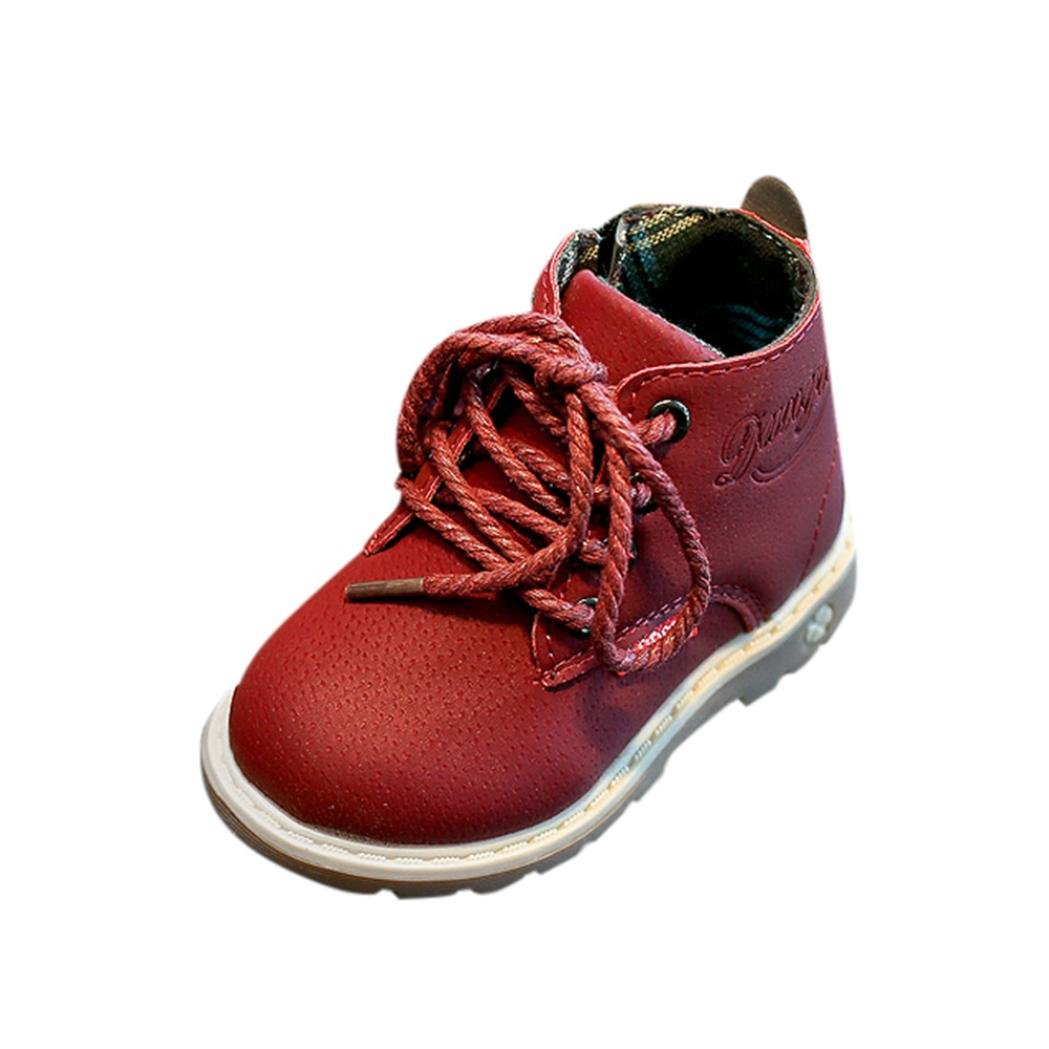 Amiley hot sale Children Fashion Boys Girls Martin PU leather Sneaker Boots Lace Up Kids Baby Casual Shoes (25, Red)