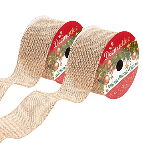 Juvale Pack of 2 Faux Burlap Ribbon -