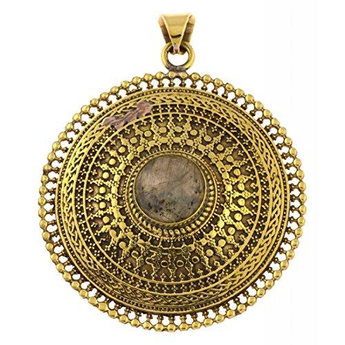 - Brass pendant labradorite circles plait 42 mm antique gold chain jewelry Tribal