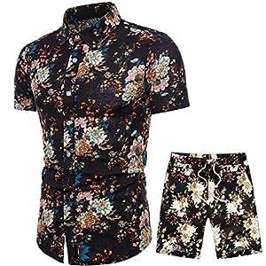 HaoDong Mens Summer Shirts Pants Sets – Fashion Printed Suit Casual Short Sleeve Clothing