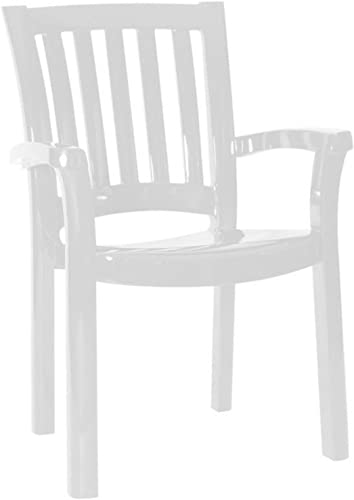Compamia Sunshine Resin Patio Dining Arm Chair in White, Commercial Grade Set of 4
