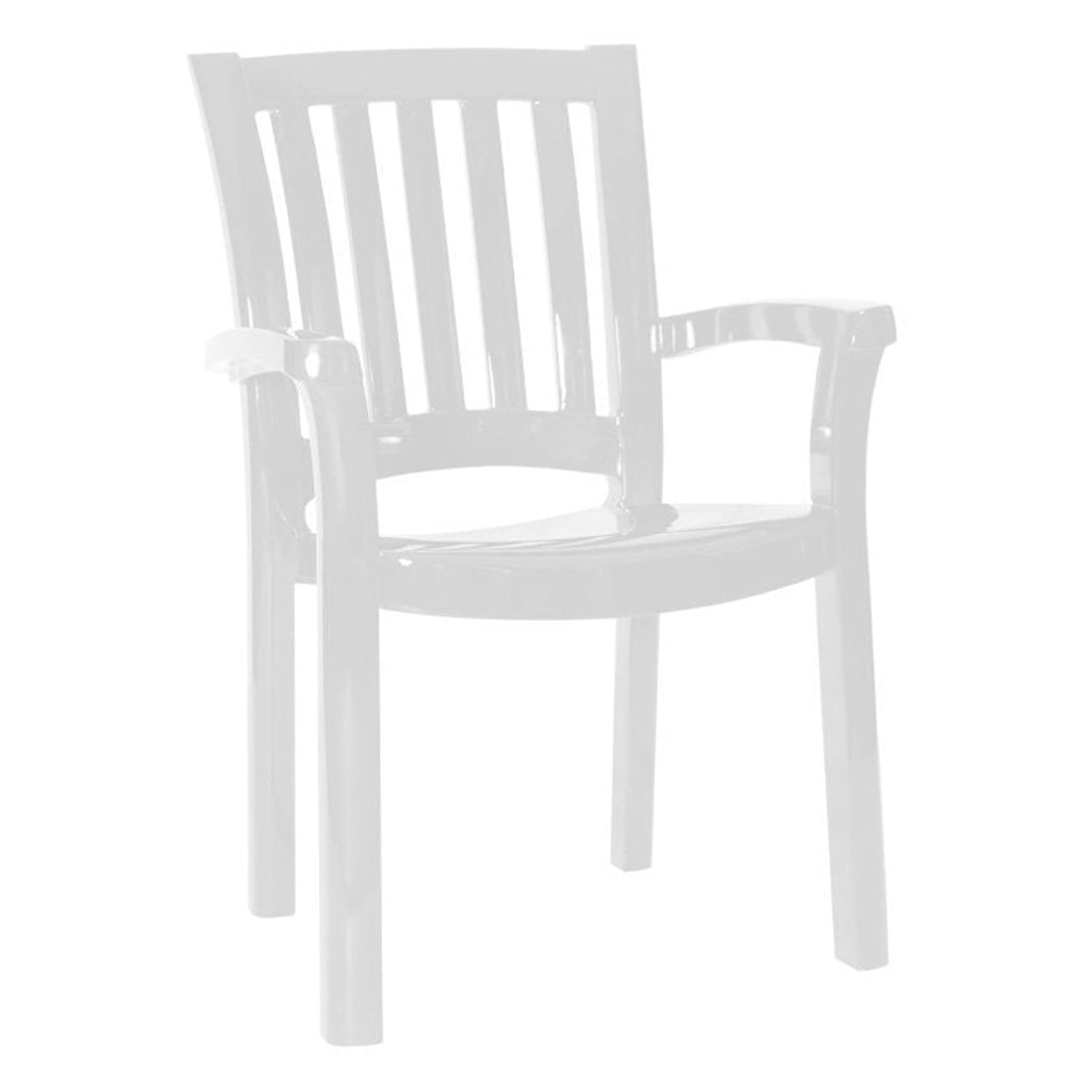 Compamia Sunshine Resin Patio Dining Arm Chair in White, Commercial Grade