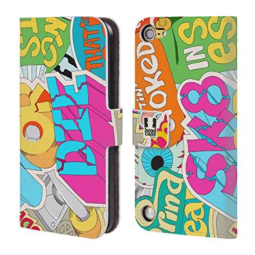 Head Case Skate Or Die Sticker Happy Cover telefono a portafoglio in pelle per Apple iPod Touch 5G 5th Gen / 6G 6th Gen