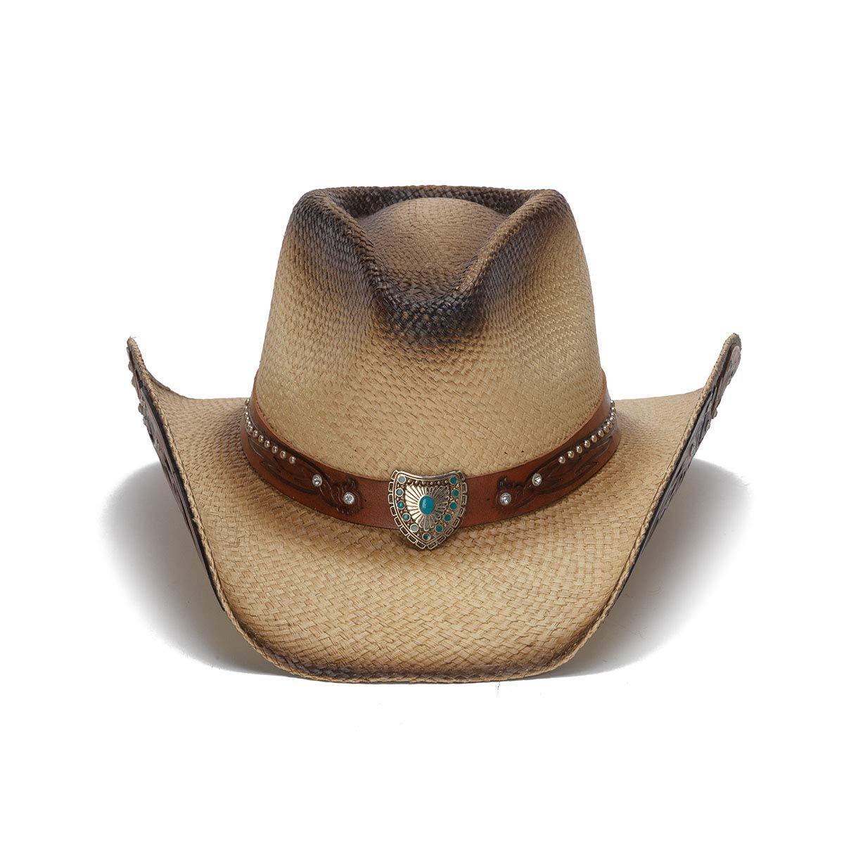 Stampede Hats Women's Concho Turquoise Wings Rhinestone Western Hat XS Tea Stain by Stampede Hats (Image #2)