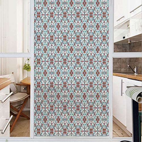 Decorative Window Film,No Glue Frosted Privacy Film,Stained Glass Door Film,Ethnic Antique Floral Pattern Italian Majolica Style Ornate Illustration,for Home & Office,23.6In. by 78.7In Light Blue Red ()
