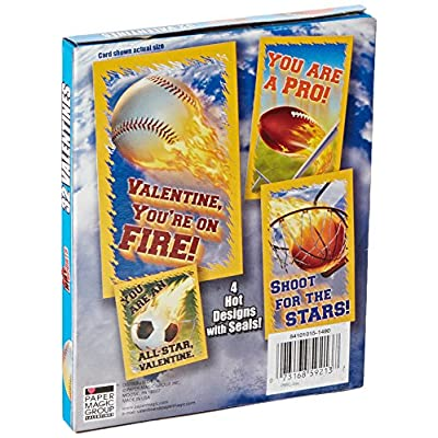 Paper Magic Hot Sports Valentine Exchange Cards (32 Count): Toys & Games