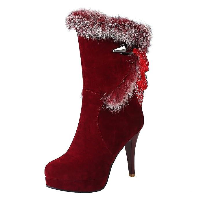 YE Damen Halbschaft Gefütterte Stiefel Stiletto High Heels Plateau mit Schnürung und Fell 10cm Absatz Warm Elegant Schuhe dl2QW