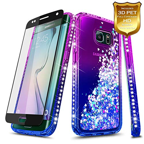 S6 Edge Case, Galaxy S6 Edge Glitter Case w/[Full Coverage Screen Protector 3D PET HD], NageBee Liquid Quicksand Flowing Shiny Sparkle Bling Diamond Cute Case for Samsung Galaxy S6 Edge -Purple/Blue