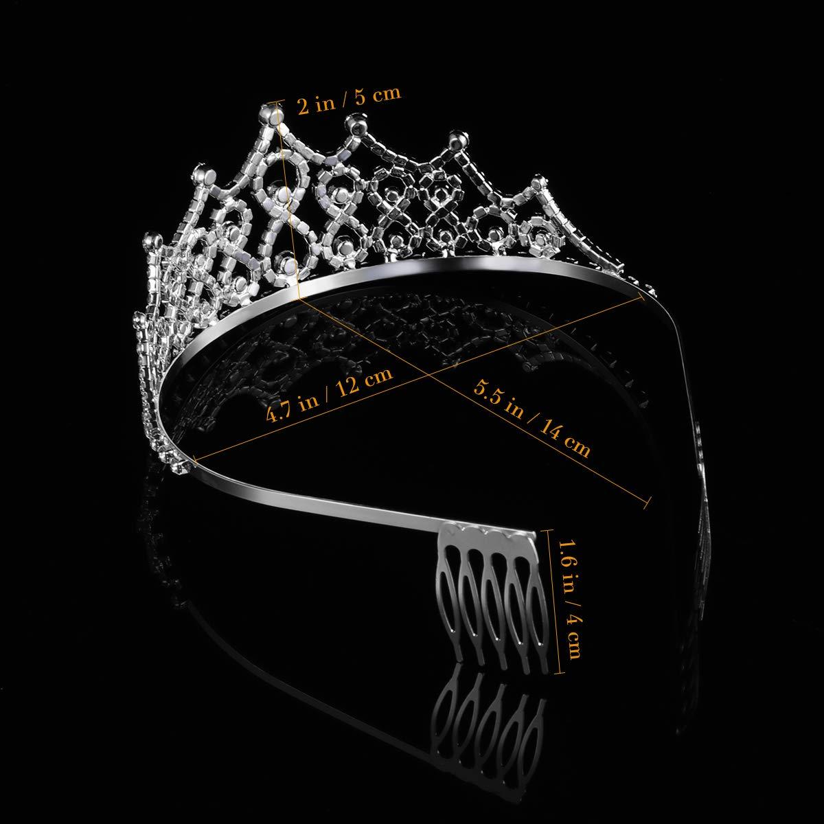 Frcolor Mariage Couronne Diad/ème en strass avec peigne de mariage anniversaire Princesse Cristal Diad/ème pour femme