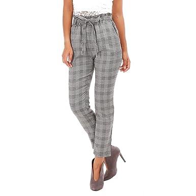 énorme réduction 78f55 57bbf La Modeuse - Pantalon Chino à Carreaux Femme: Amazon.fr ...